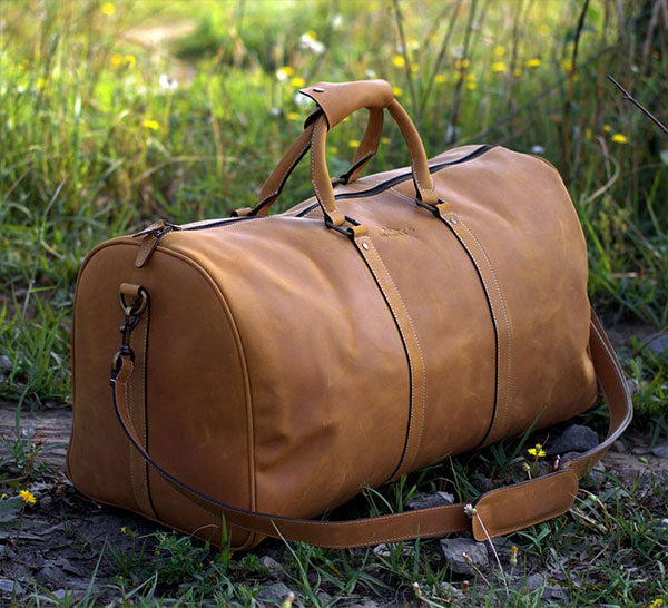 Leather Carry On Sports Gym Bag