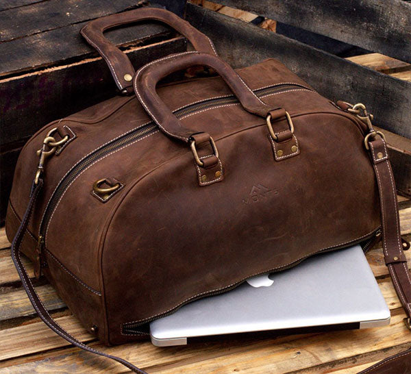 Leather Travel Bag with Laptop Compartment