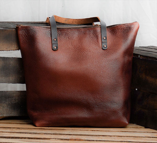 Small Leather Travel Tote With Zipper