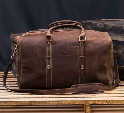 Men's Distressed Leather Duffel Bag
