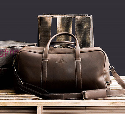 Men's Leather Carry On Luggage Bag For Men