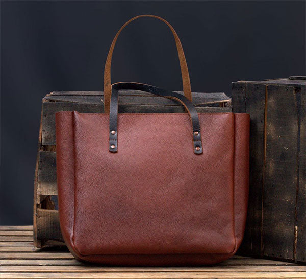 Mother's Day Gift: Lightweight Carryall Leather Tote