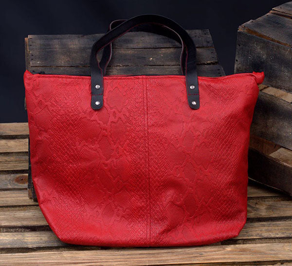 Red Leather Travel Tote