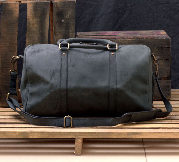 Leather Sports Duffle Bag with Shoe Compartment