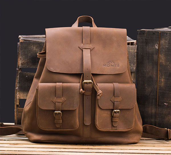 Top Grain College Leather Backpack