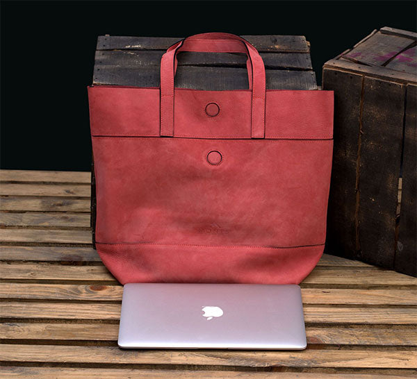 Valentines Day Gift: Women Pink Leather Tote