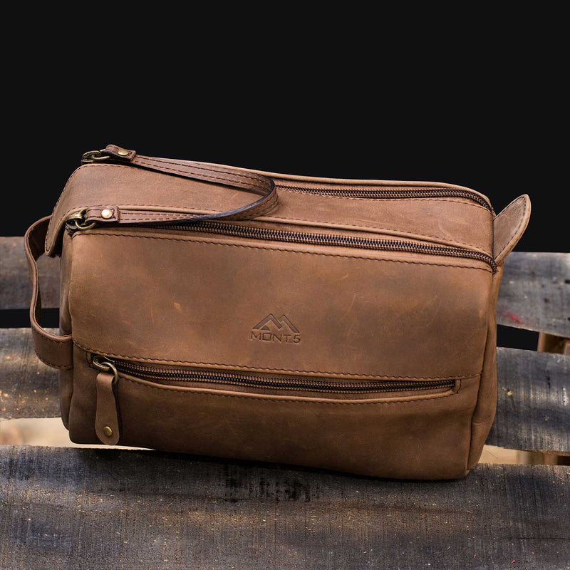 Bagrot Men's Leather Toiletry Bag