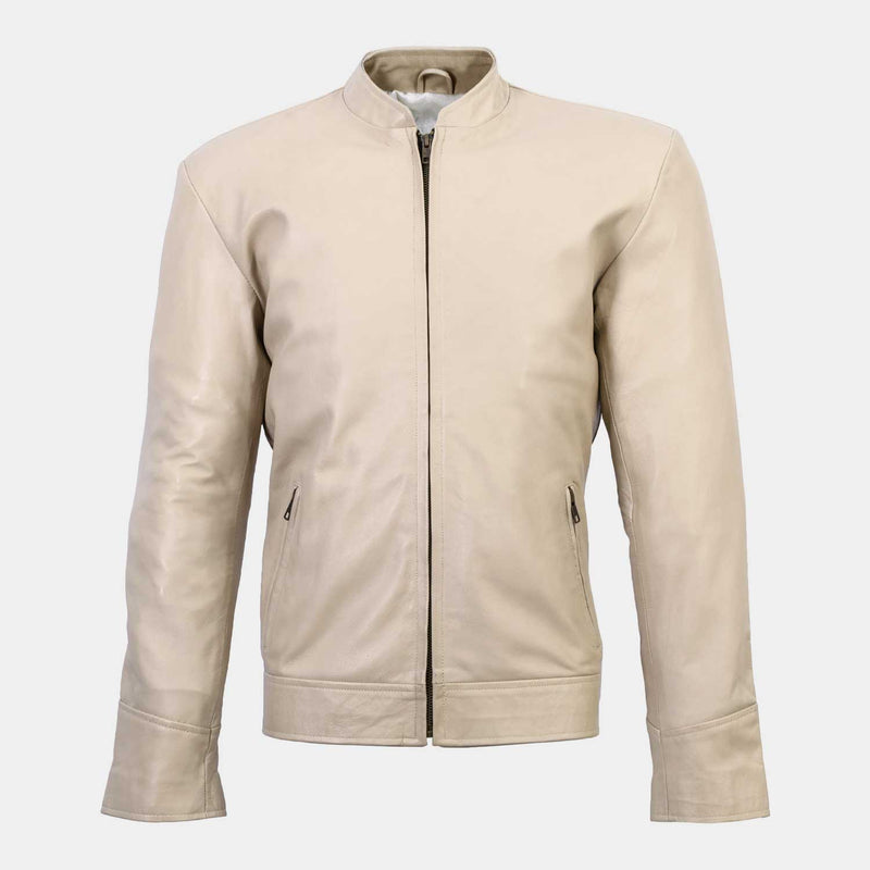 Baltoro Men's Beige Leather Jacket