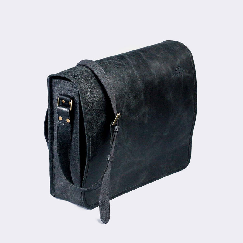 Chogolisa Black Leather Messenger Bag