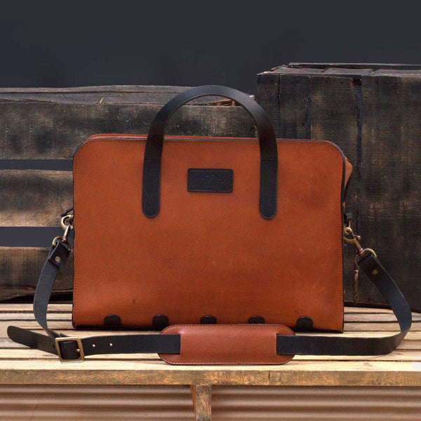 Ganish Vintage Leather Laptop Briefcase