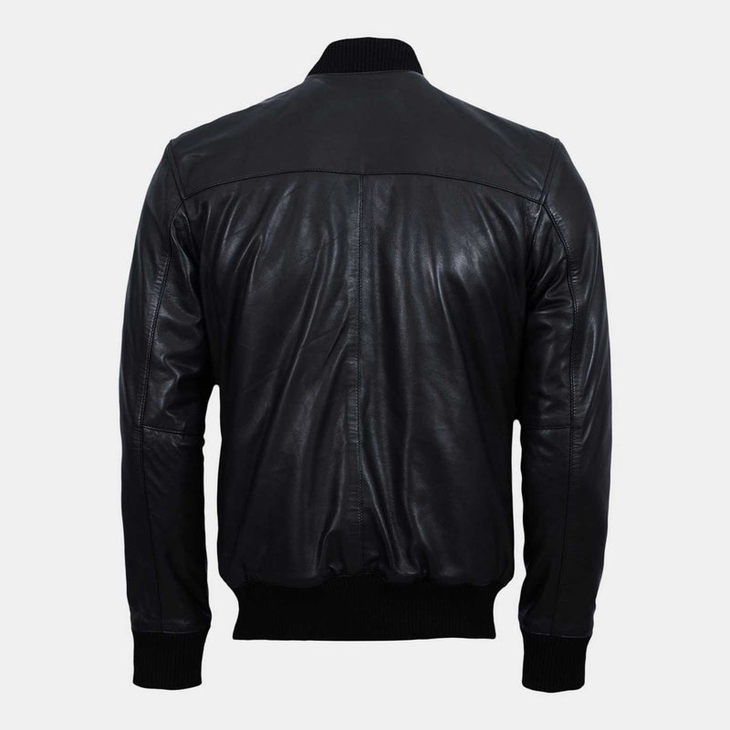 K2 Black Leather Bomber Jacket
