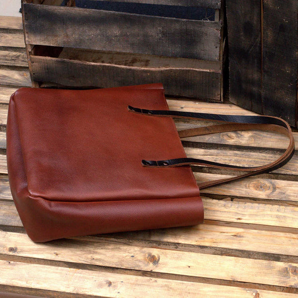Kel Leather Tote With Zipper