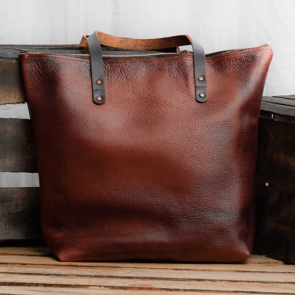 Keran Leather Tote With Zipper