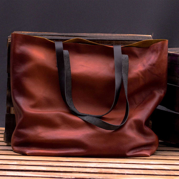 Keran Waxed Brown Leather Tote