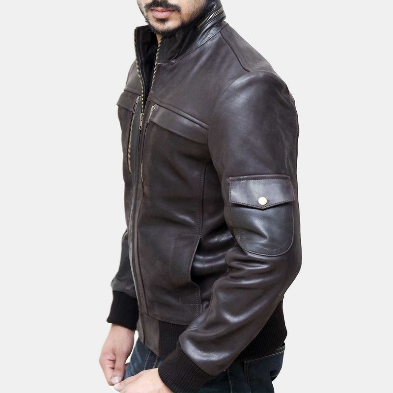 Rakaposhi Vintage Leather Bomber Jacket