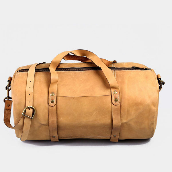 Shangrila Tan Leather Gym Bag