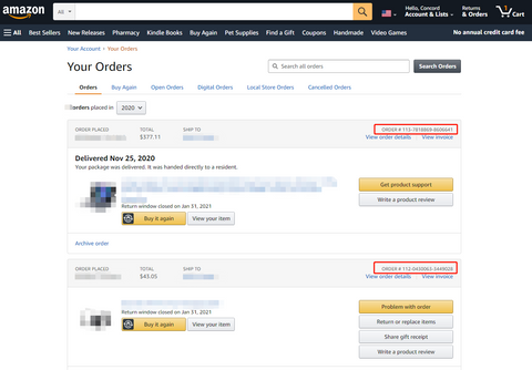 Order ID Found from Your amazon account