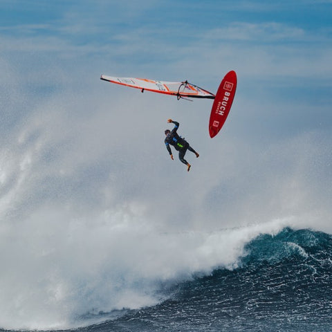 Dany Bruch, professional windsurfer and owner of Bruch Boards out on the water in his Blue Soup UP Vest