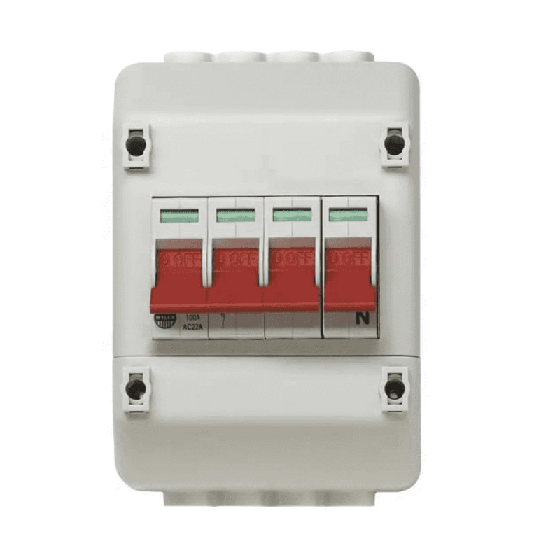Wylex Rec4 100A 4 Pole Isolator Switch And Enclosure To Suit Meter Tails-Supplieddirect.co.uk