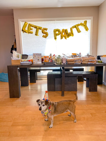 Let's Pawty Balloons and hot dog bar set up