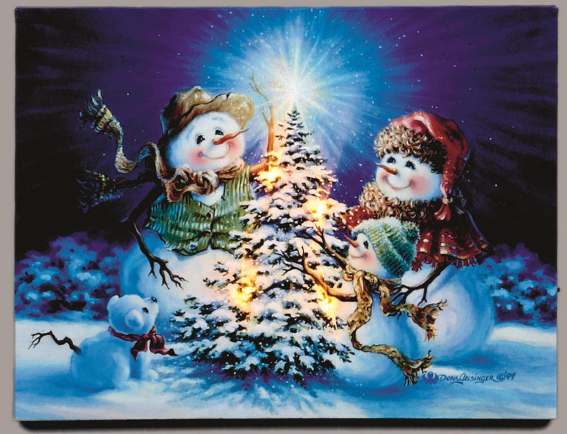 Light up LED Canvas Snowman Scene