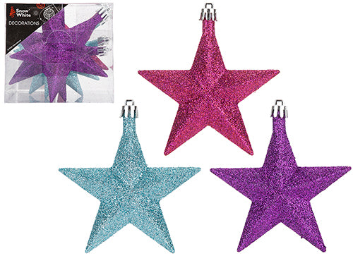 Pack of 6 Star Shaped Baubles - Bright