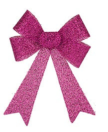 22cm Tinsel Bow - Pink