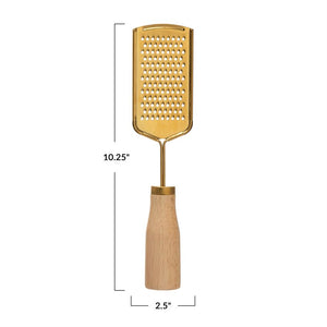 Gold Grater with Wooden Handle