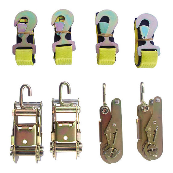 4 Point Towing Kit,  4 Ratchets 4 Side Way Hooks, 4 Straps W/Flat Snaps