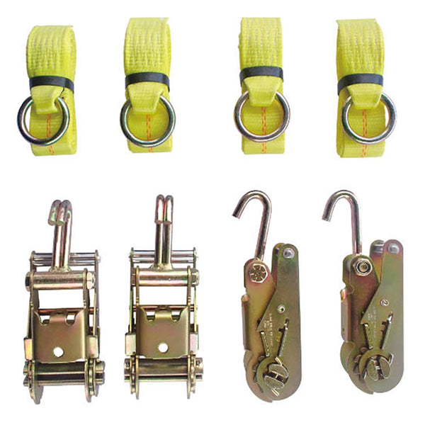 4 Point Tie Down Kit, 4 Ratchets w/Double Finger Hooks, 4 Lasso Straps