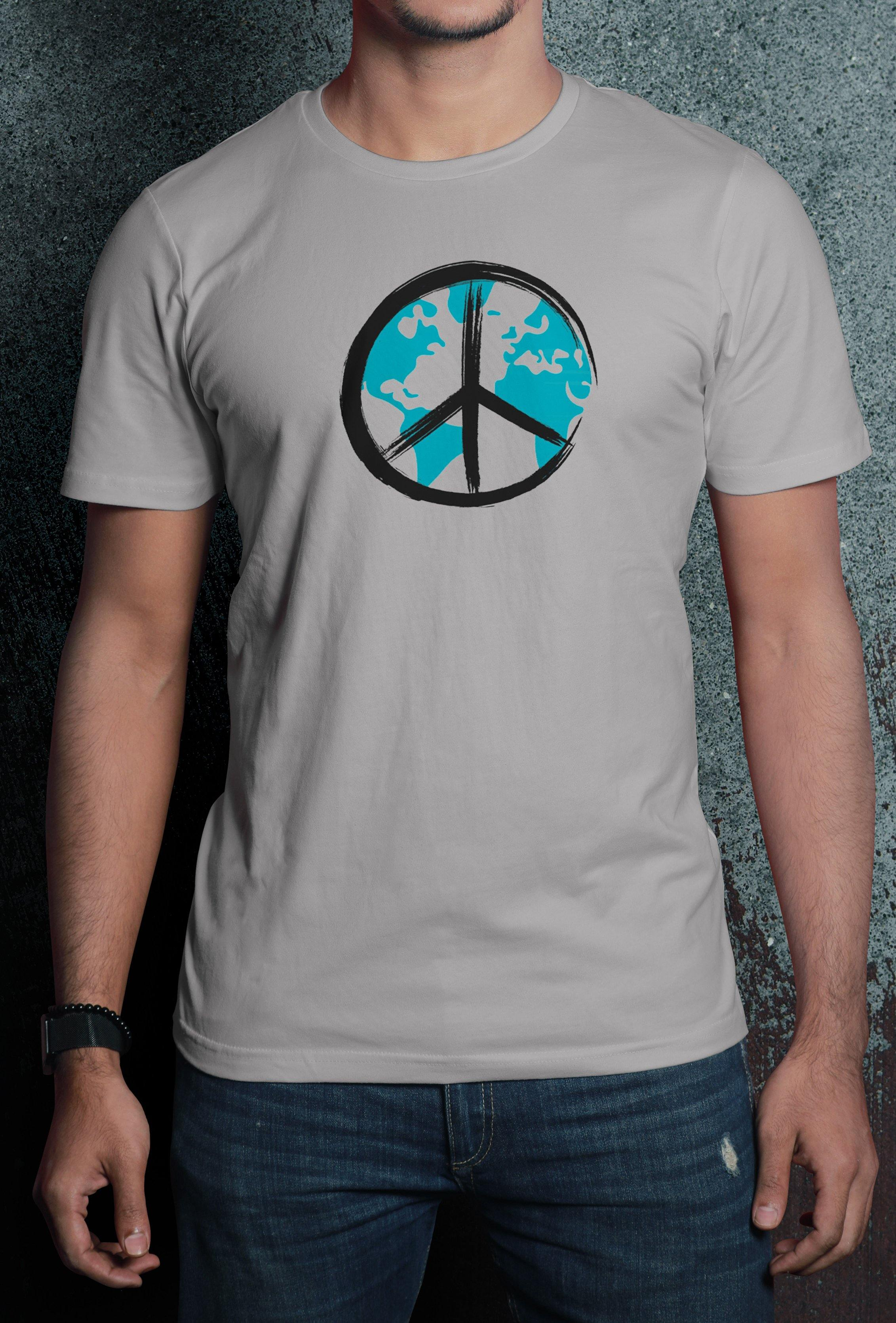 Globe Print Half Sleeve Premium Quality Cotton T-Shirt - thewardrobe-store-in