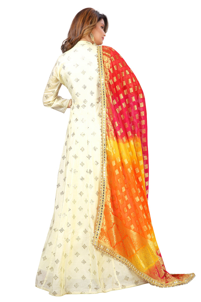 Cream Chanderi Printed Kurti with Leggings and Matching Dupatta