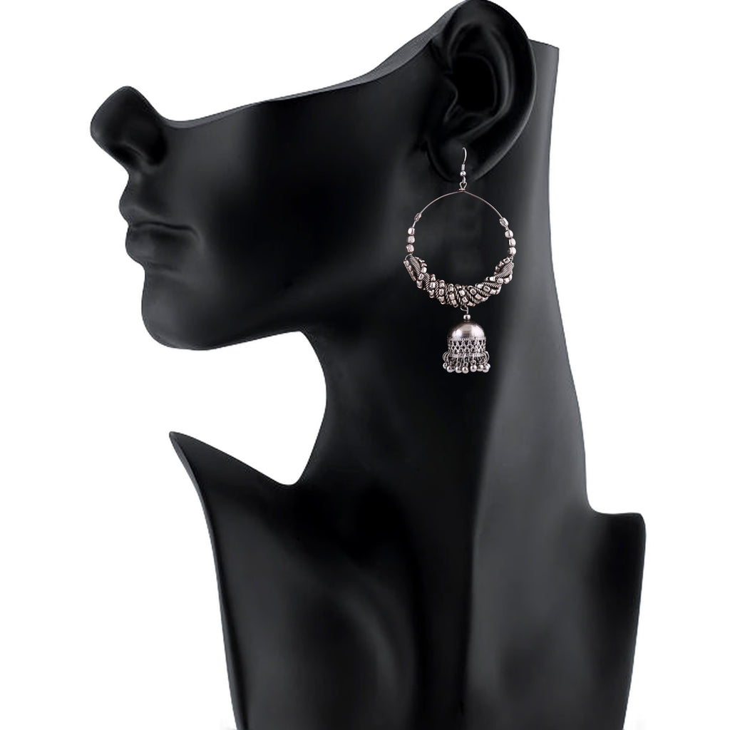 Generic Women's Silver Oxidized Hook Dangler Hanging Afgani Tribal Fancy Earrings-Silver
