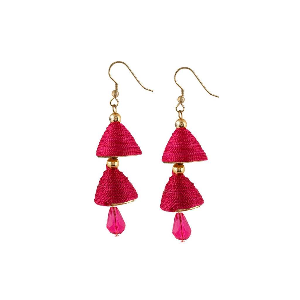 Generic Women's Thread Hook Dangler Hanging Jhumki Earrings-Pink