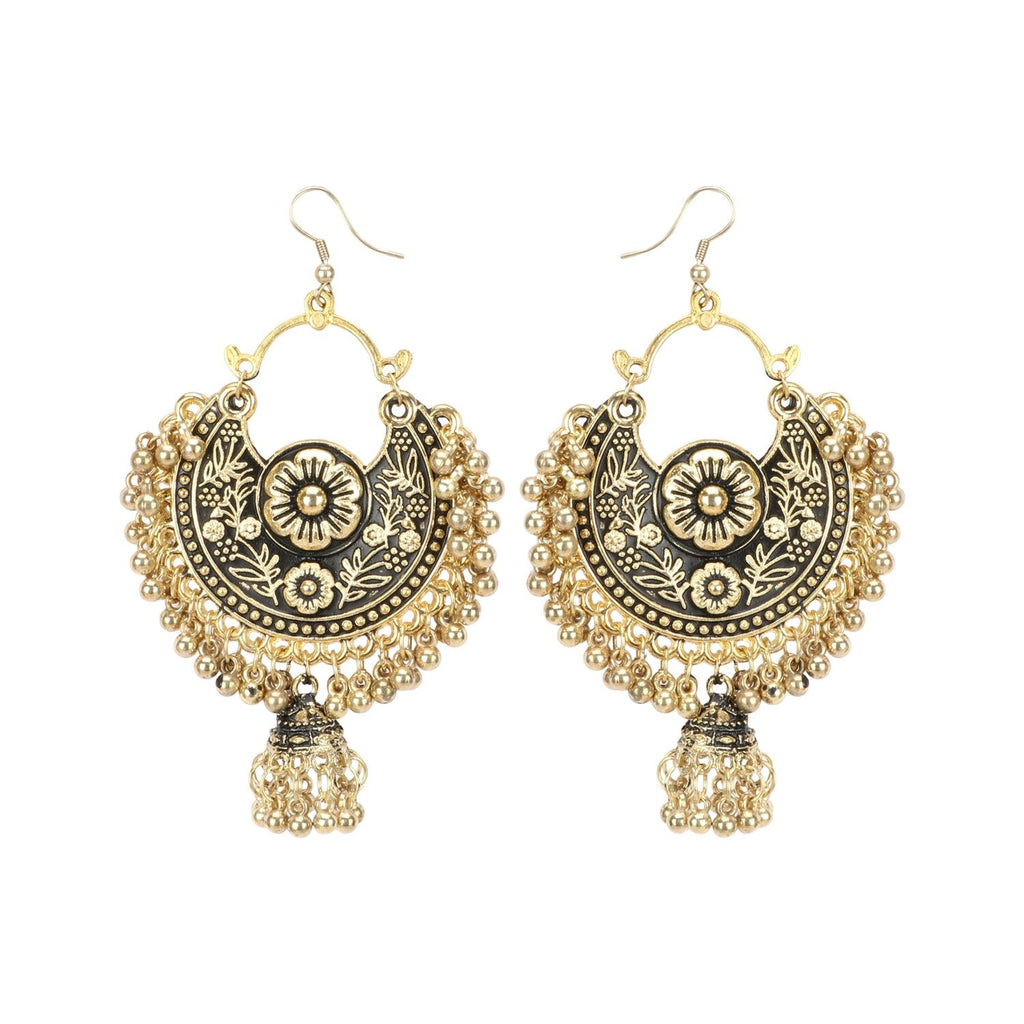 Generic Women's Gold Oxidized Earrings and  Maang Tikka-Black