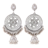 Generic Women's Silver Plated Hook Dangler Hanging Jhumki Earrings-Silver