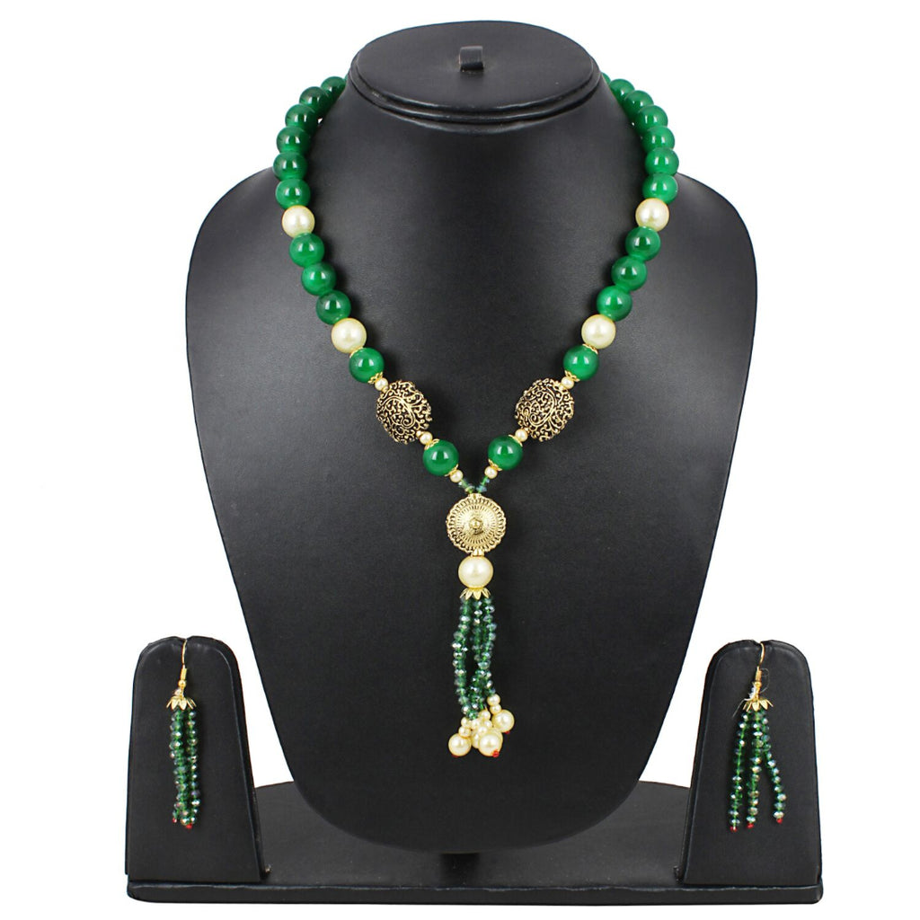 Designer Handmade Green Beads Traditional Necklace