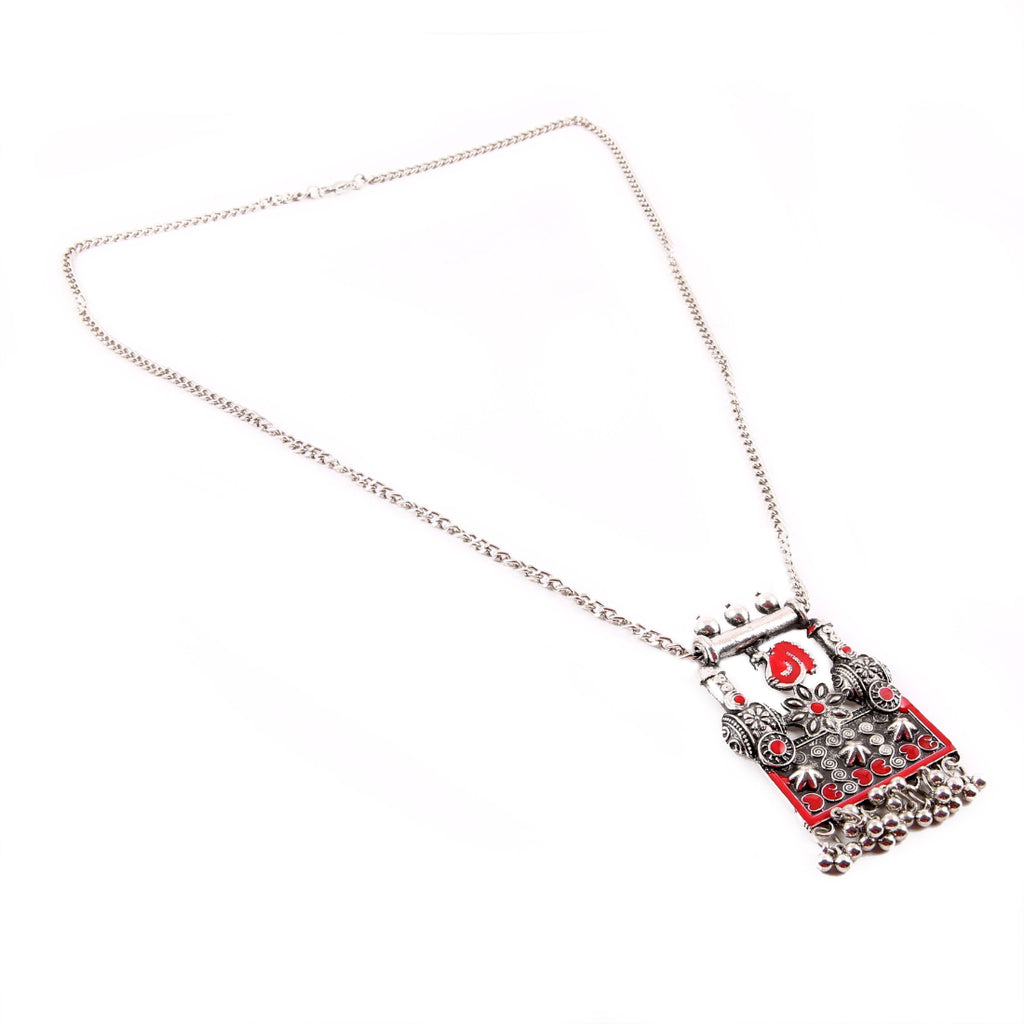 Stylish Gypsy Meena Work Oxidized Silver Necklace