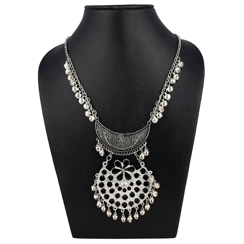 Oxidized Silver Designer Statement Necklace