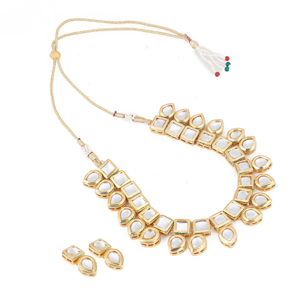 Kundan Gold-Plated Necklace Set With Earrings