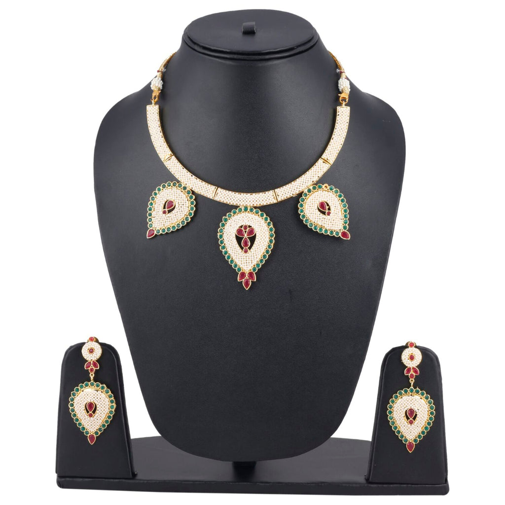 Designer Traditional India Rajasthani Basra Pearl Necklace with Earrings
