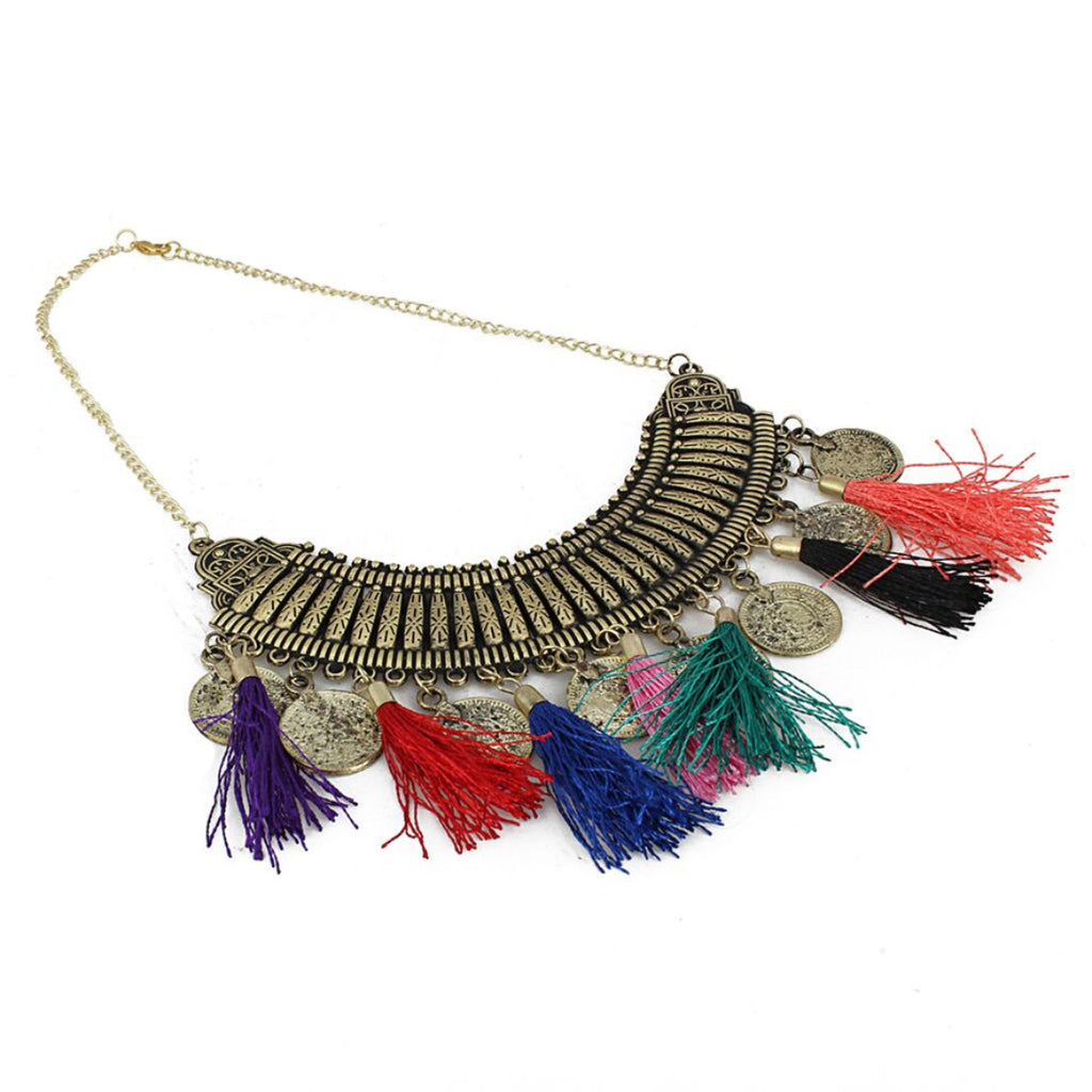 Oxidized Golden Multicolour Tassels Necklace