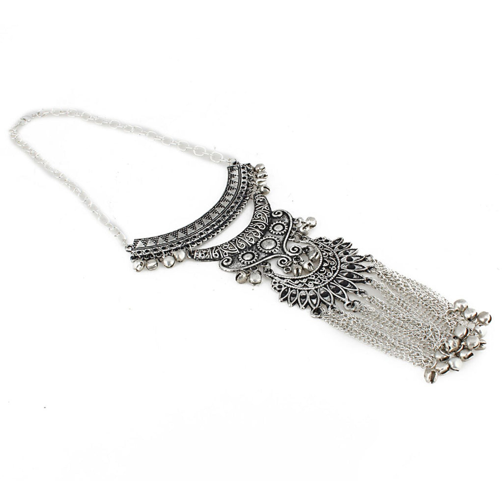 Antique Tribal Oxidized Boho Afgani Silver Necklace