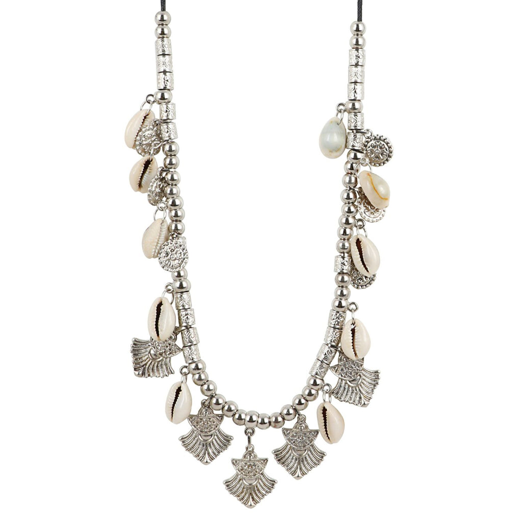 High Finished Shell Beads Silver Necklace