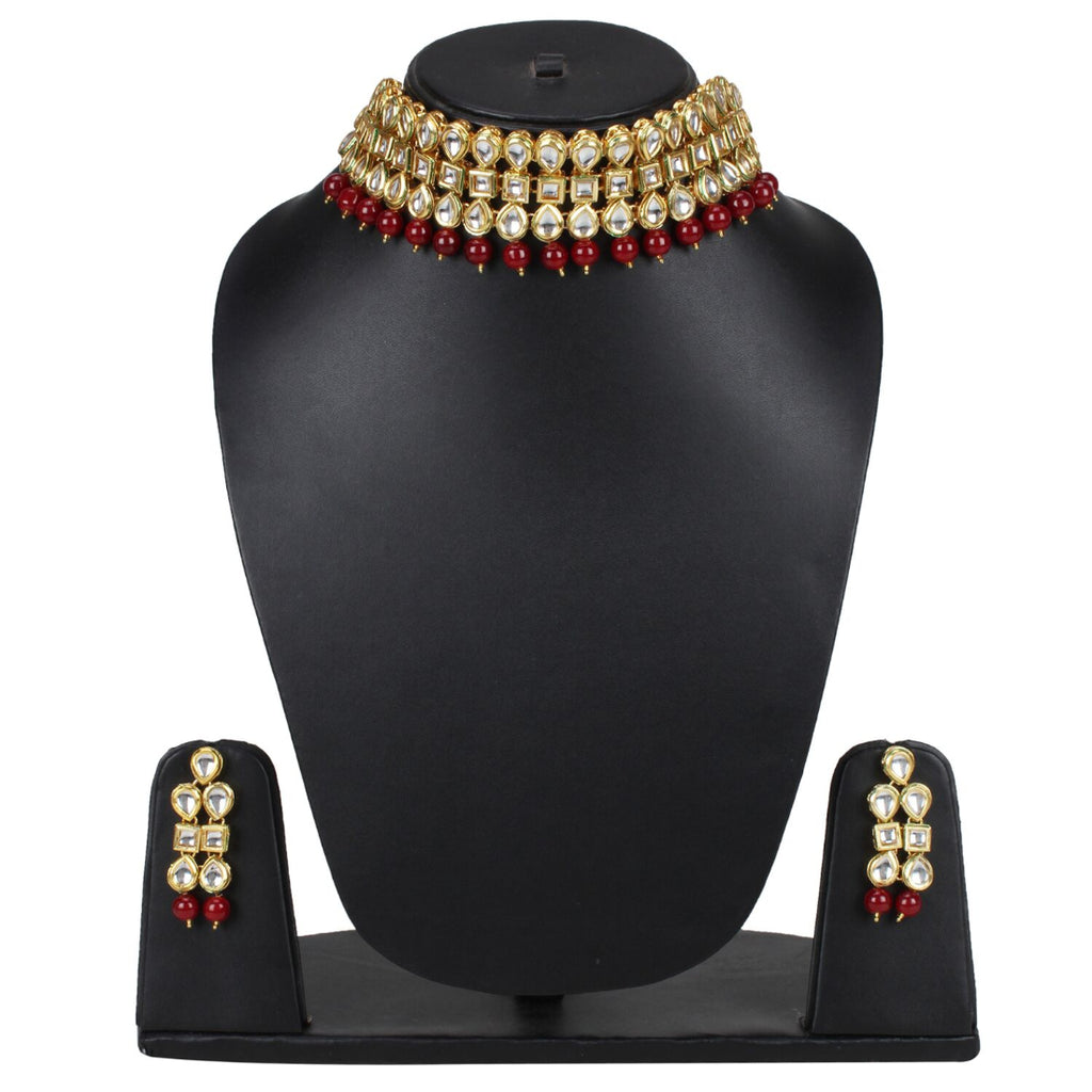 Elegant Gold Plated Bollywood Inspired Maroon Traditional Kundan Necklace Set