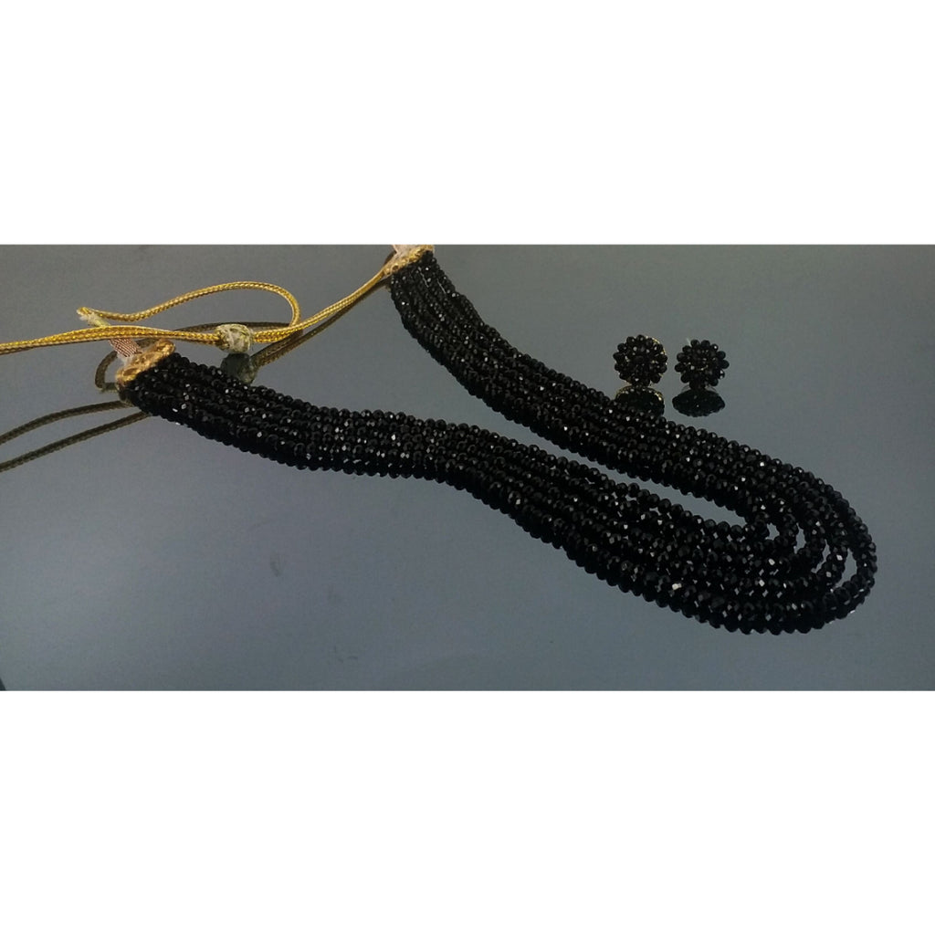 Five Layer Black Crystal Beads Necklace With Earrings