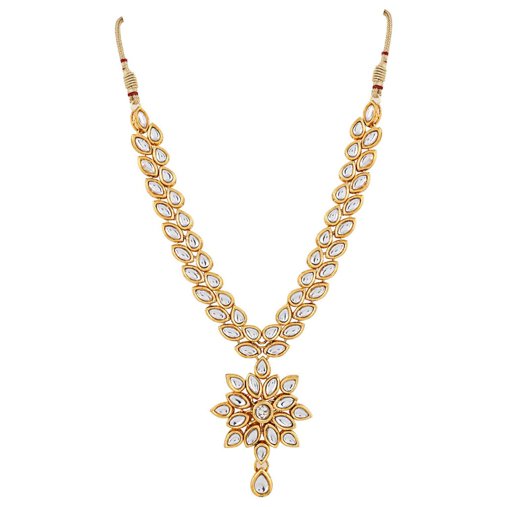 Kundan Metal Gold Strand Necklace With Earrings Jewellery Set
