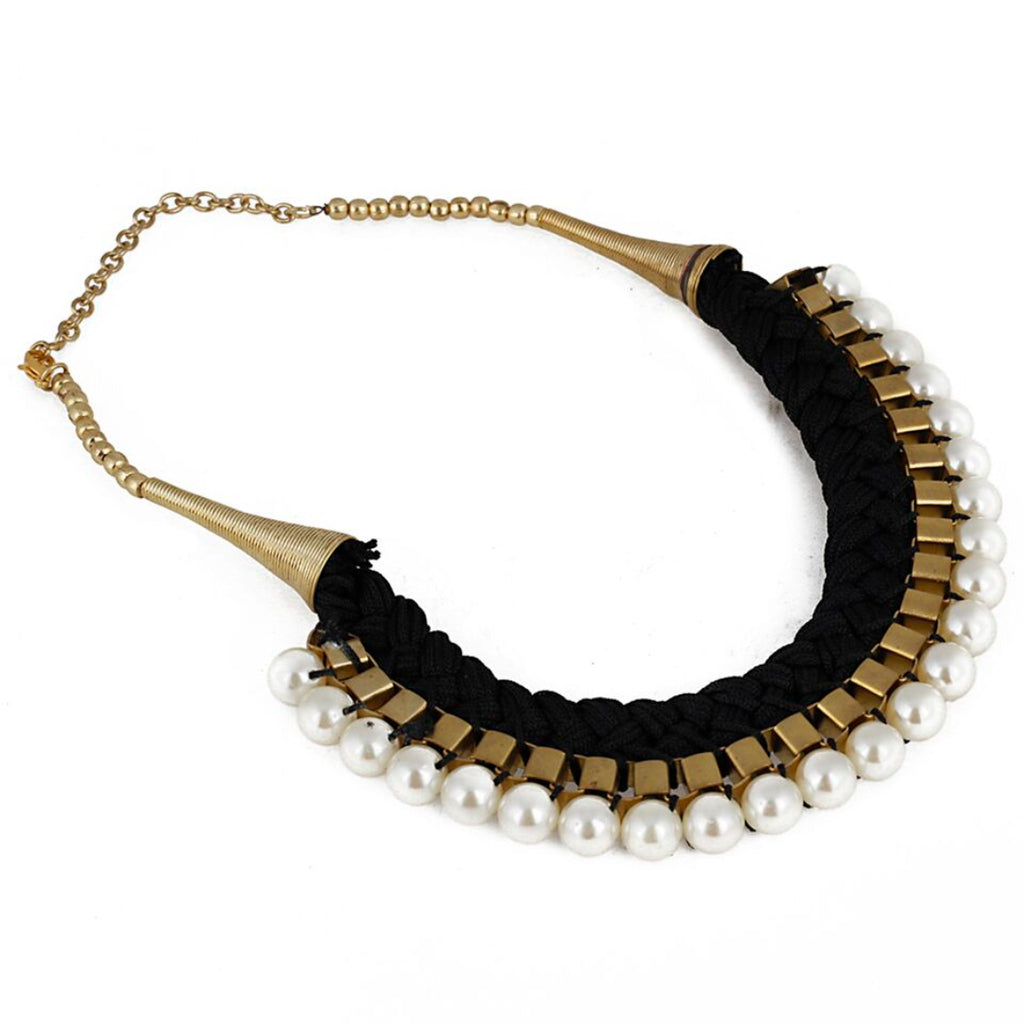 Designer Black Thread and Pearl Fashion Necklace