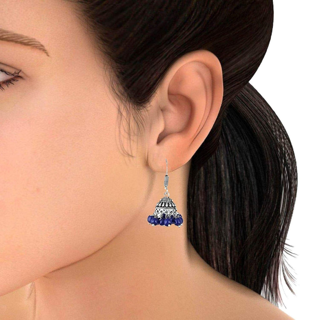 Silver Plated Pearl Jhumki Earrings for Women - Pair of 10