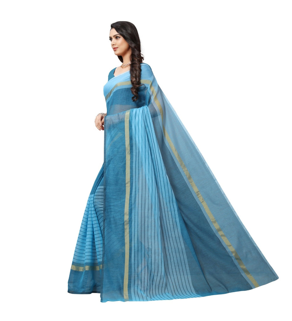 Generic Women's Cotton Silk Saree With Blouse (Sky Blue,6-3 Mtrs)